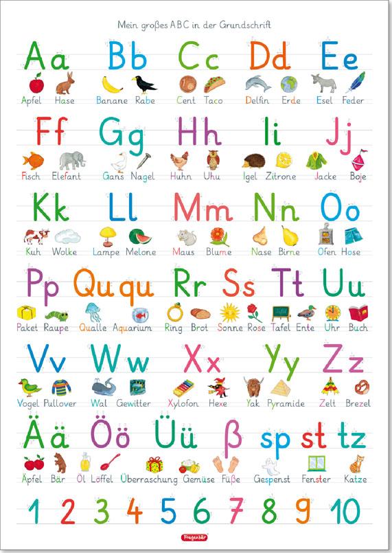Fragenbär Lernposter Das Abc Mit Groß Und Kleinbuchstaben